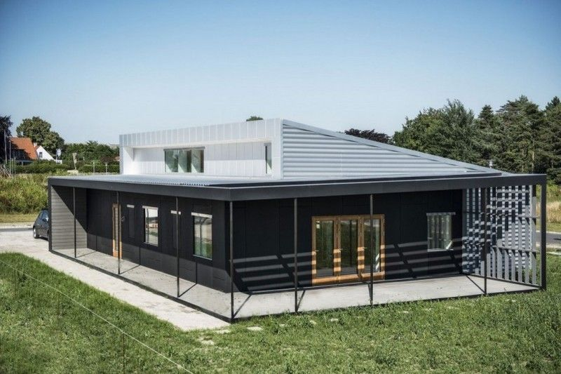 single story glass shipping container home