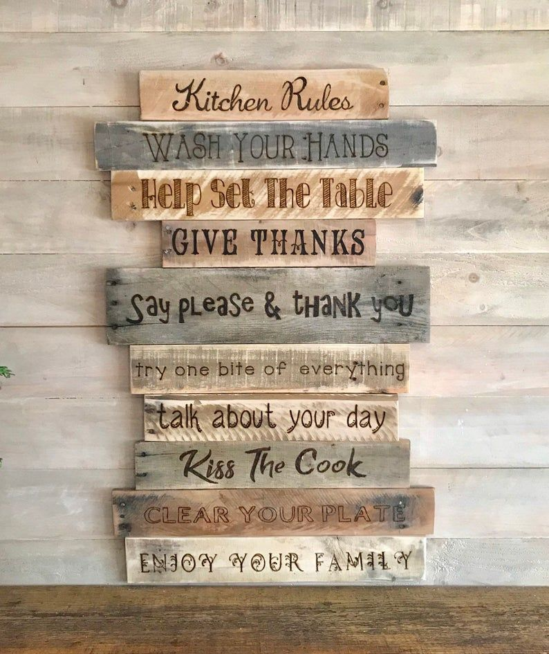 Kitchen Rules Signrustic Country Farmhouse Wood Wall Decor Kitchen Rules Sign Kitchen Rules Wood Wall Decor