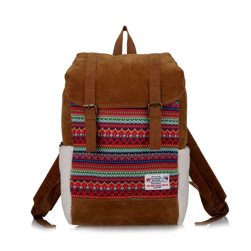 Fleece Double Hasp School Bag Computer Travel Backpack