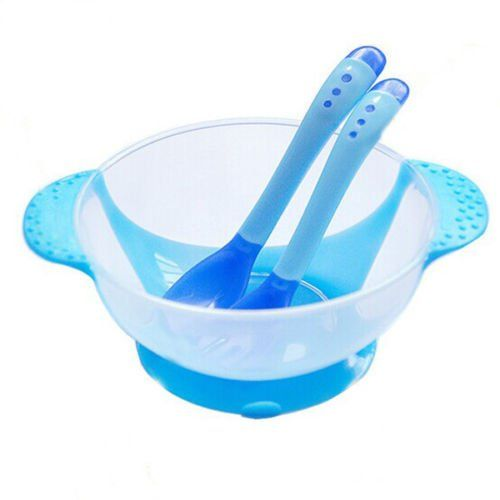 Baby+Kids+Learnning+Dishes+With+Suction+Cup+Assist+Food+Bowl+++Sensing+Spoon+Set(+blue