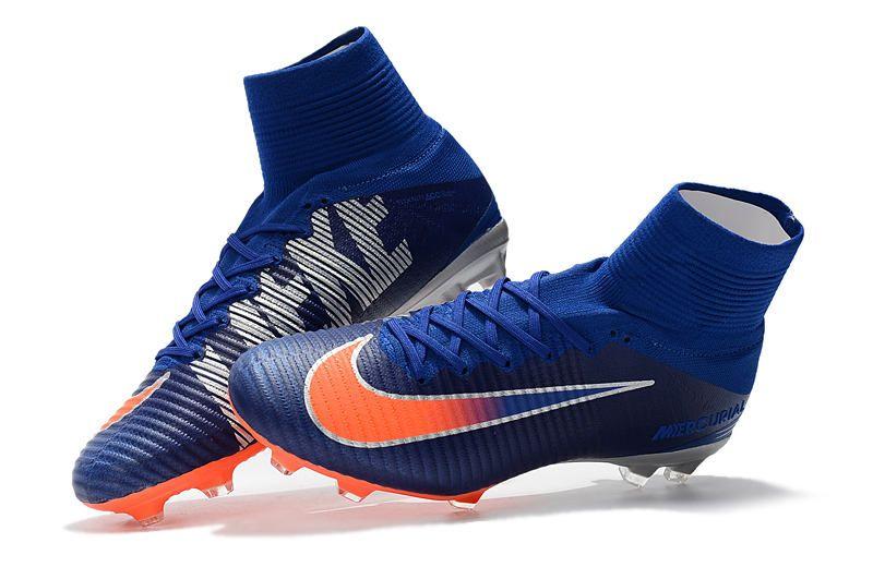 0d44379743 Nuevo Botas de Futbol Nike Mercurial Superfly V FG Azul Naranja ...