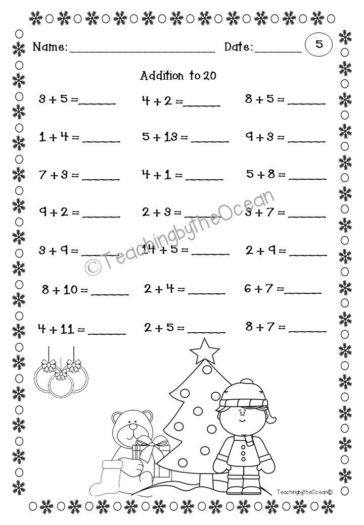 Winter Addition to 20 Fact Fluency Worksheets | Morning work ...