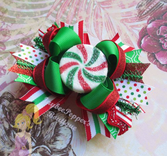 Christmas Hair bow stripes holiday hair clip over by JaybeePepper, $11.00 #holidayhair