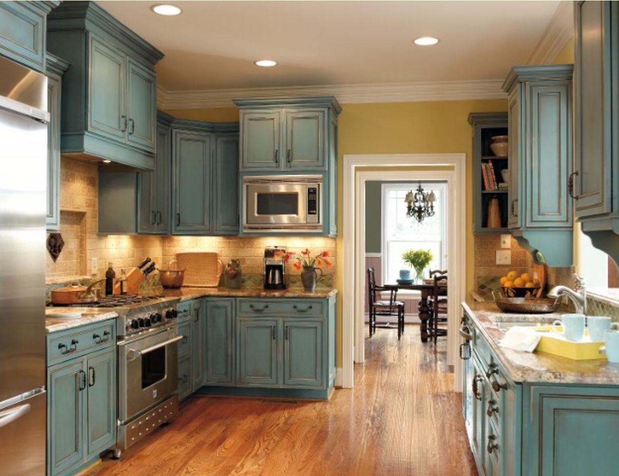 Absolutely Love The Cabinet Color Distressed Kitchen Cabinets Kitchen Cabinets For Sale Rustic Kitchen Cabinets