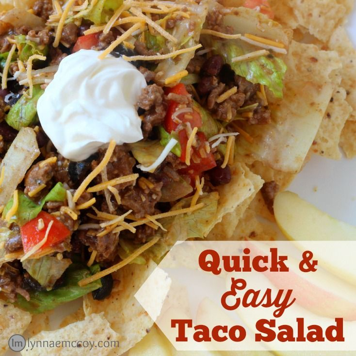 This taco salad can be made ahead, making it a perfect dinner for super busy evenings.