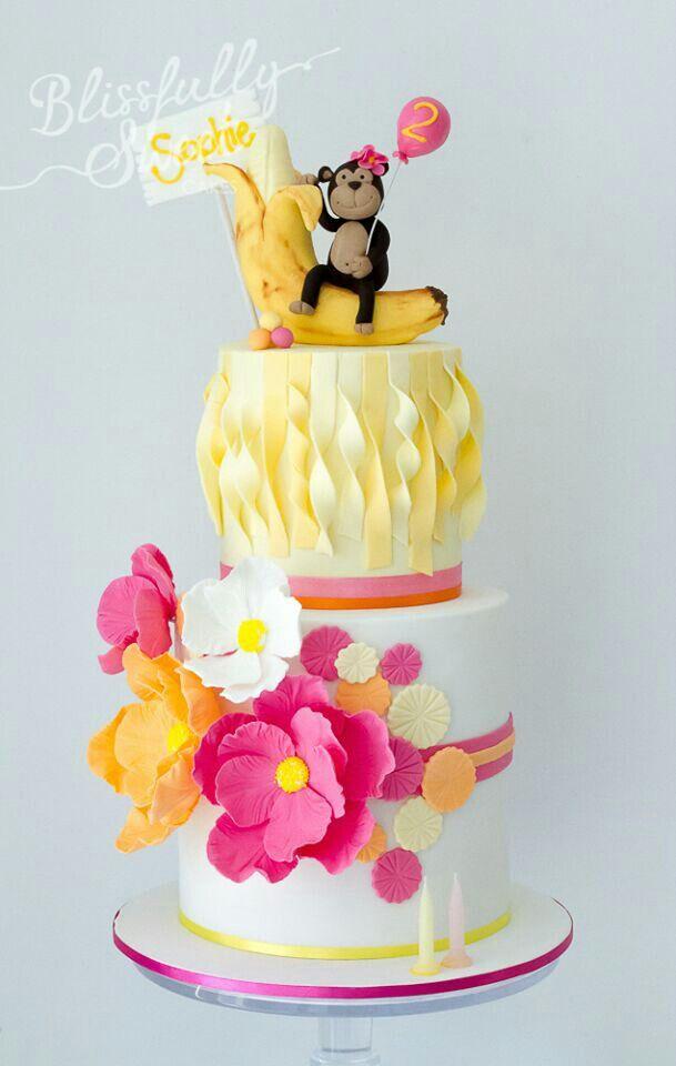Tartas De Cumpleanos Birthday Cake Girly Monkey Cake Tartas De - Tartas-de-cumpleaos-sencillas-y-originales