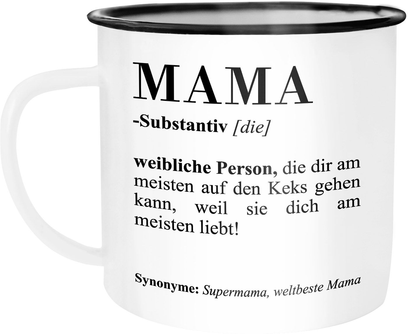 Emaille Tasse Becher Mama Definiation Wörterbuch Dictionary
