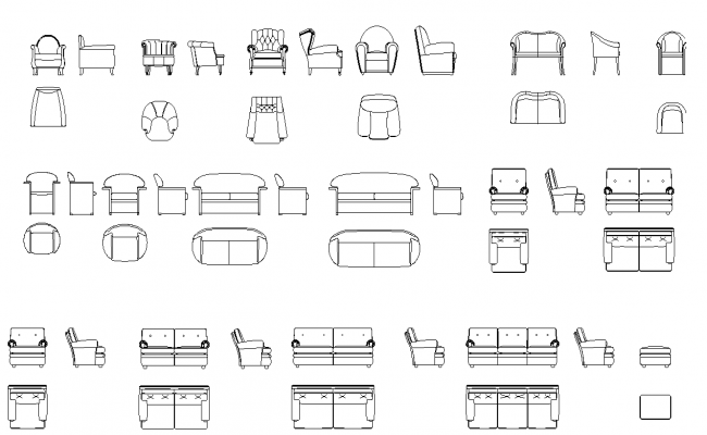 Library Of Sofas And Armed Chairs Plan Detail Dwg Sofa Drawing Drawing Furniture How To Plan