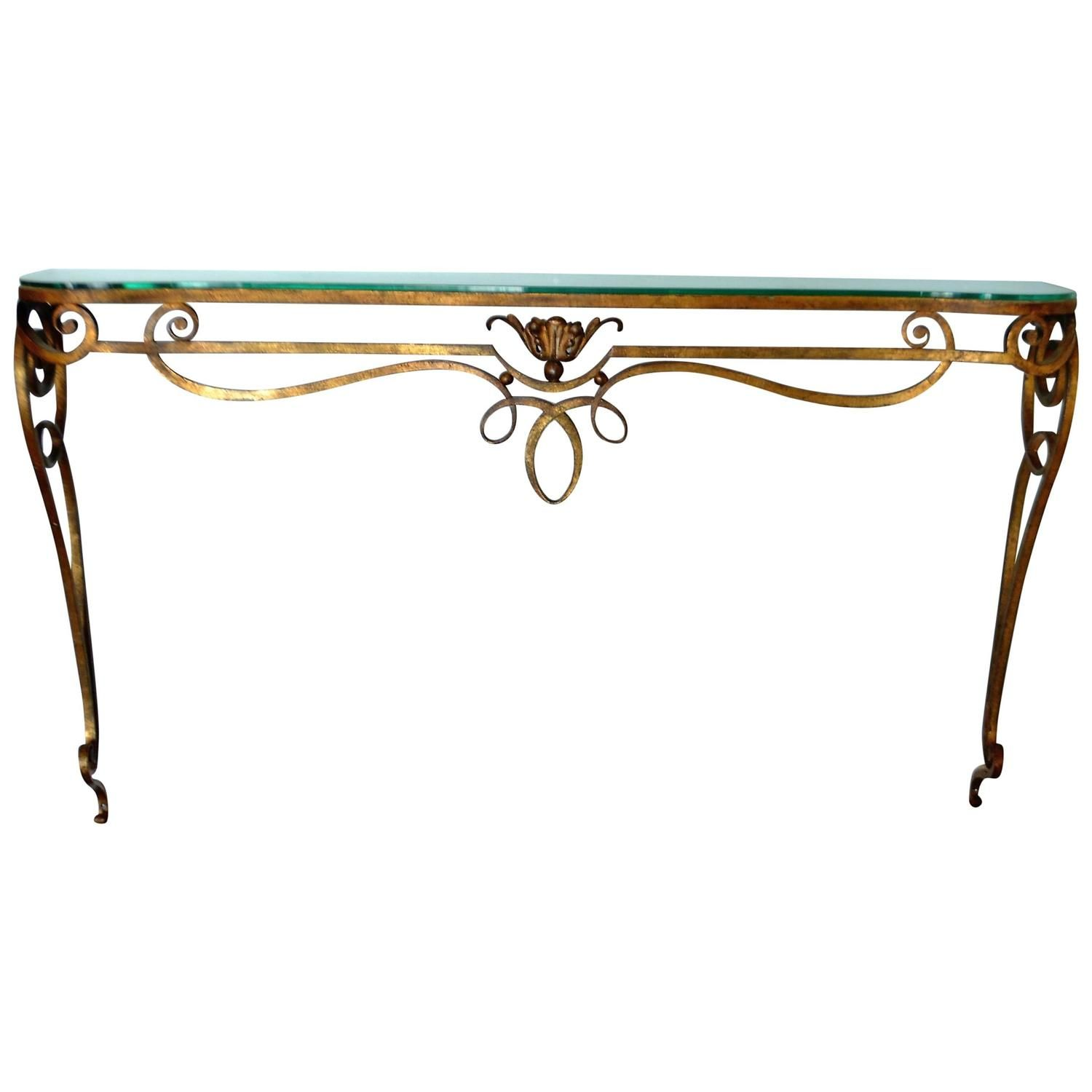 Wrought Iron Gilded Console Table With Glass Top | From A Unique Collection  Of Antique And Modern Console Tables Atu2026