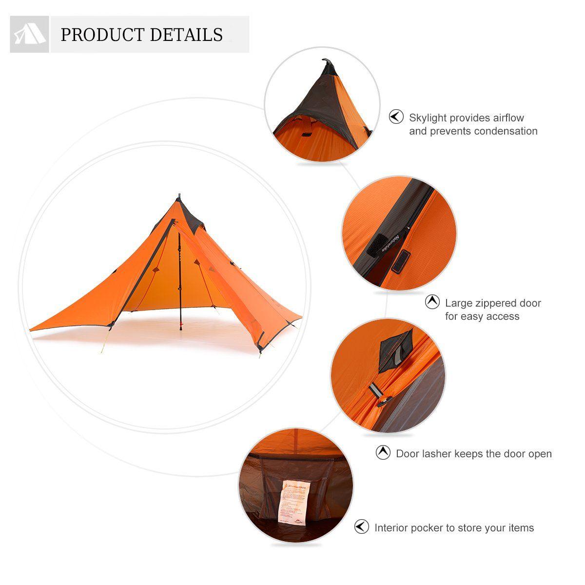 Naturehike Trekking Pole Tent Ultralight 1 Person 3 Season Tent Lightweight Pyramid Tent For Mountaineering Hiking Camping Trekking Pole Tent Tent Camping Tent