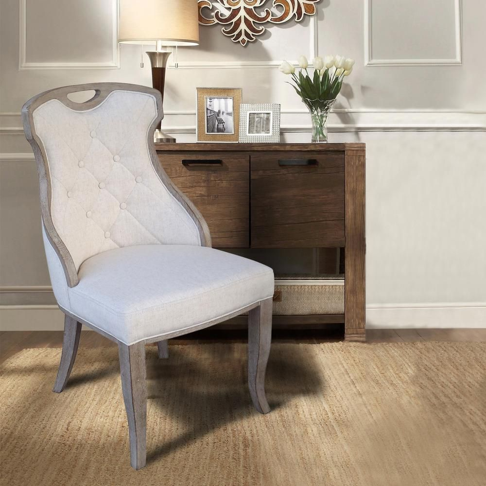 Sofia Beige Linen Back Dining Chair With Handle Set Of 2 Dwc