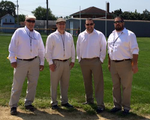 First Vintage American Football referees seen here 2015 in Douglas Park, Rock Island - Illinois