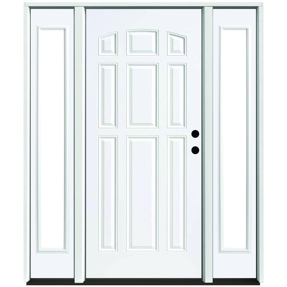 Steves Sons 64 In X 80 In 9 Panel Primed White Left Hand Steel Prehung Front Door With 12 In Clear Glass Sidelites 4 In Wall St90 Pr D12cl R4lh The Home In 2020 Front