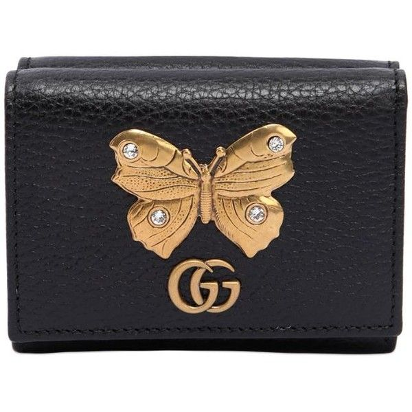 262637798887 Gucci Women Small Butterfly Wallet ($400) ❤ liked on Polyvore featuring  bags, wallets, black, butterfly wallet, gucci wallet, snap bag, card slot  wallet ...