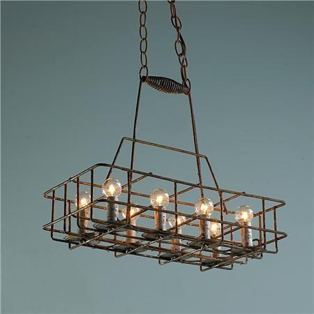 repurposed lighting. Vintage Repurposed Bottle Carrier Chandelier - 8 Light Lighting E