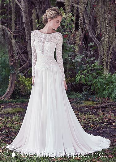 2b69ea515e15a Maggie Sottero Deirdre wedding dress stunning from every angle. With its  gently pleated Santorini chiffon A-line skirt and long sleeve lace bodice