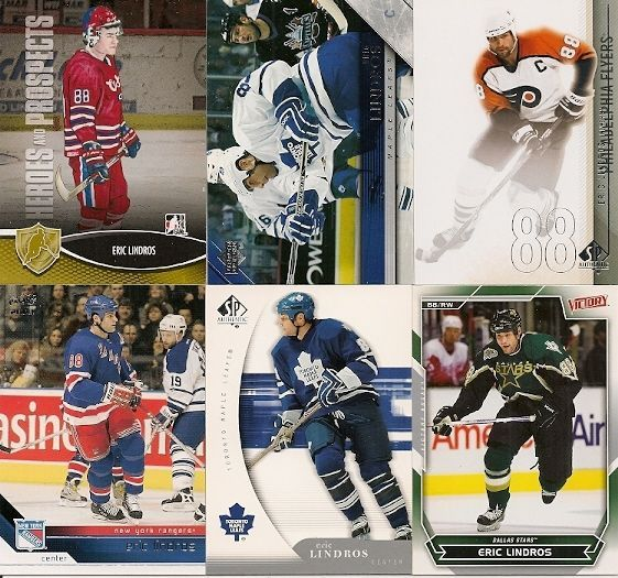6 DIFFERENT ERIC LINDROS HOCKEY CARDS LOT