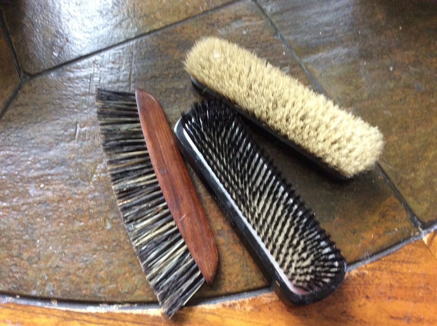 Set 3 personal grooming brushes 2 are pure Bristle Brushes vintage clothes brush - http://bit.ly/1KCFIBi