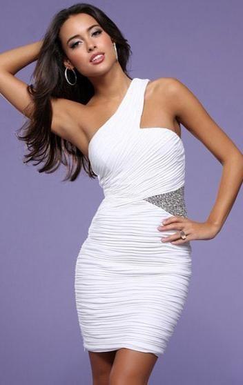 White Beaded Sexy Chiffon Sheath/Column Short Formal Dress at kissydress.com.au