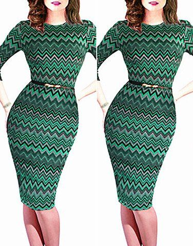Women's Simple Style Round Neck 1/2 Sleeve Colorful Dress