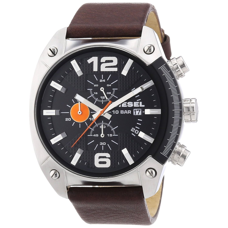 3dd1d579e24 Diesel Men s Brown Leather Analog Black Dial Quartz Watch (DZ4204 ...