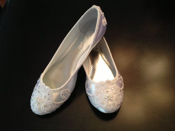 Wedding Shoes Ballet Flats Vintage Lace Swarovski Crystals Dyeable