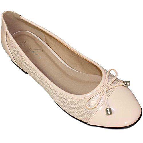 Fantasia Boutique flc006 Valencia Damen Schleife Akzent Patent Lässig Elegant Flache Pumps Balletschuhe - Beige, 5 UK/38 EU