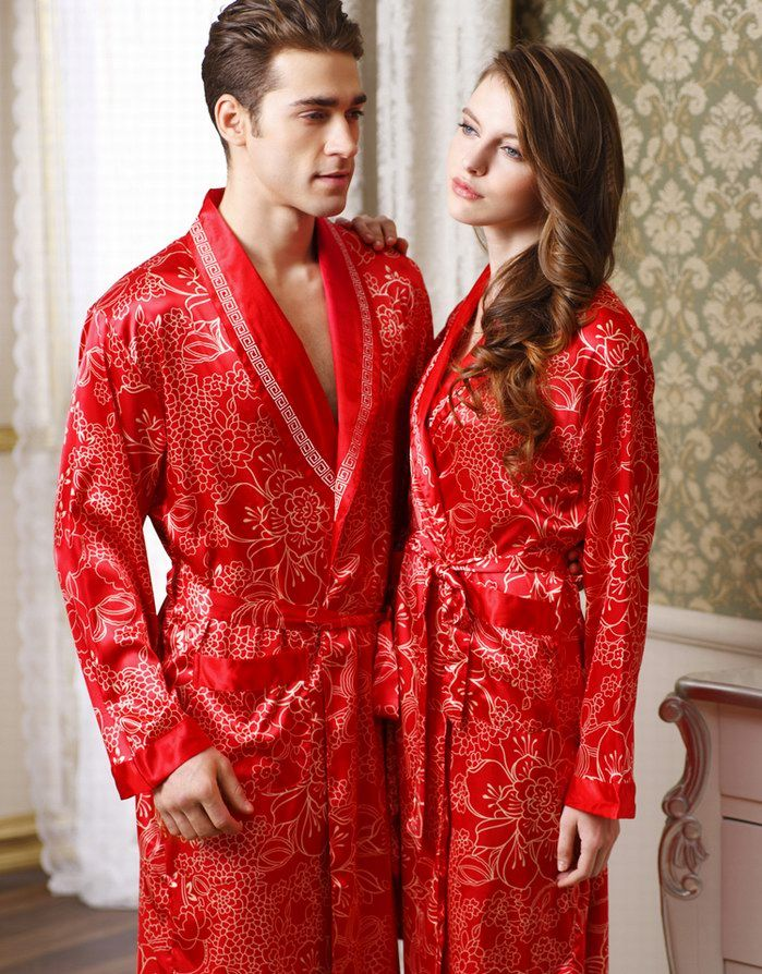 Authentic Rose Sent Men And Ladies And Couples Long Sleeve Nightgown