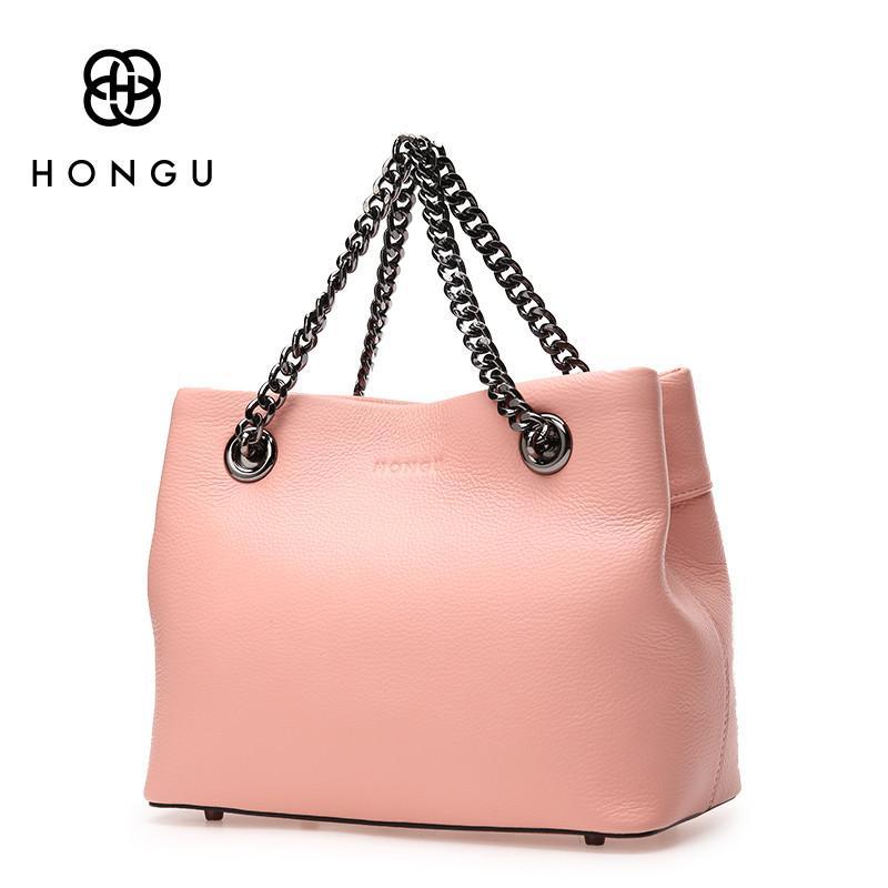 53527d0aeb HONGU 2017 Women Handbags Totes Shoulder Crossbody Bags Fashion Simple  Solid Chain Bag Genuine Cow Leather Female Handbag Zipper