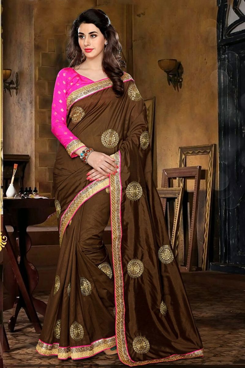chochlatee color pink blouse embroidery work partywear silk chochlatee color pink blouse embroidery work partywear silk saree only rs 1500