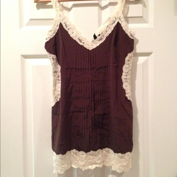 Bebe top Bebe chocolate brown top with lace inserts. bebe Tops
