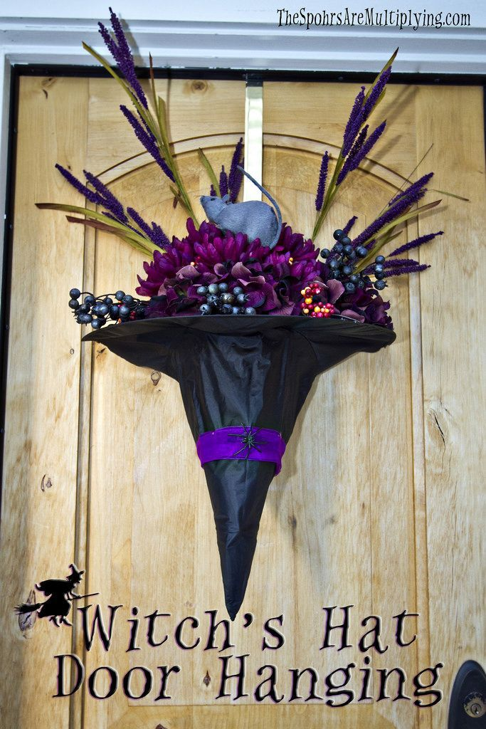 A Bountiful Witchu0027s Hat More & 63 Best Halloween Door Decorations for 2017   Santa hat Witches and ...