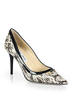 4d801df5029 Jimmy Choo - Hype Snakeskin & Patent Leather Point Toe Pumps $950 ...