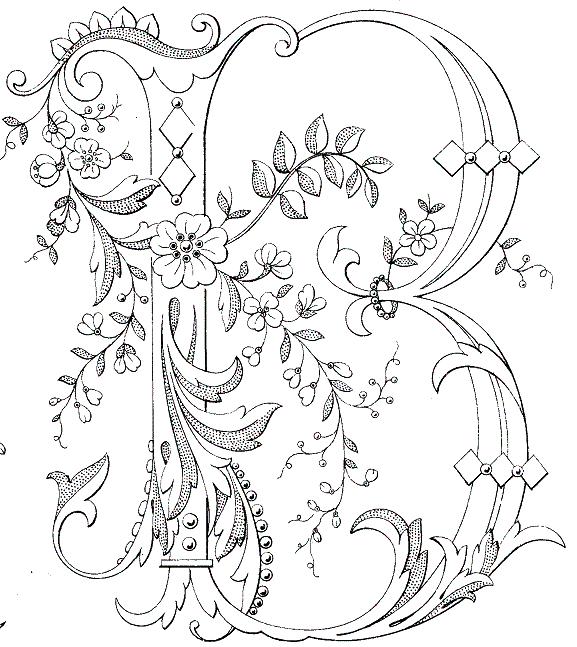 Monograma B muy decorada... | Embroidery | Pinterest | Embroidery ...