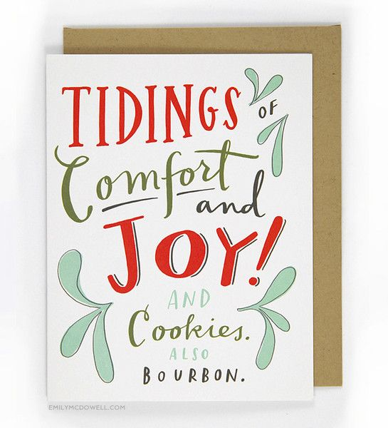 Cookies & Bourbon Holiday Card / Emily McDowell