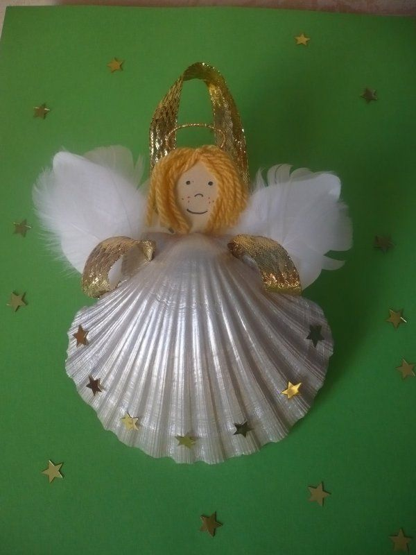 Un ange coquille noel pinterest noel coquille et creations - Ange sapin noel ...