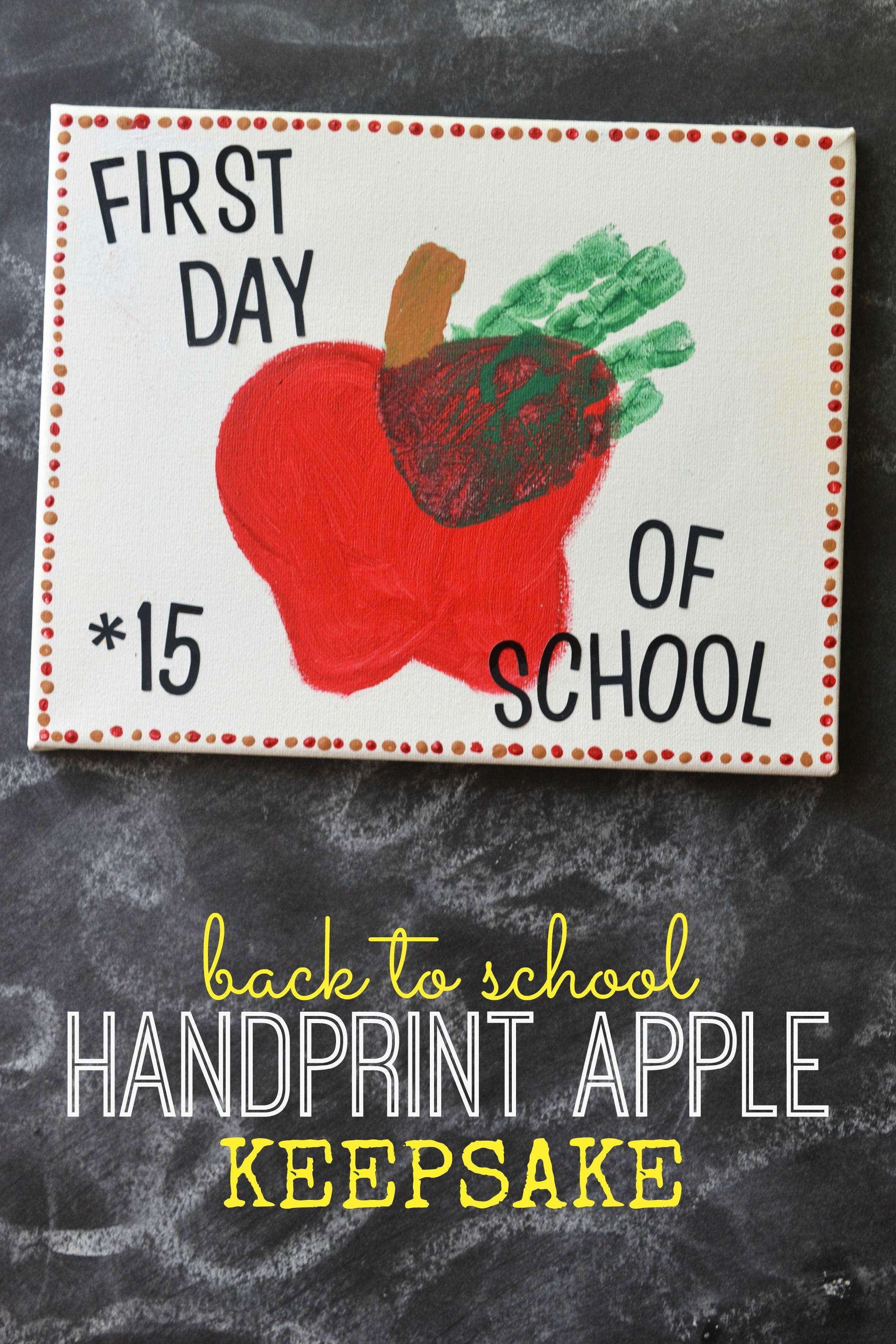 Back To School Craft Handprint Apple Keepsake