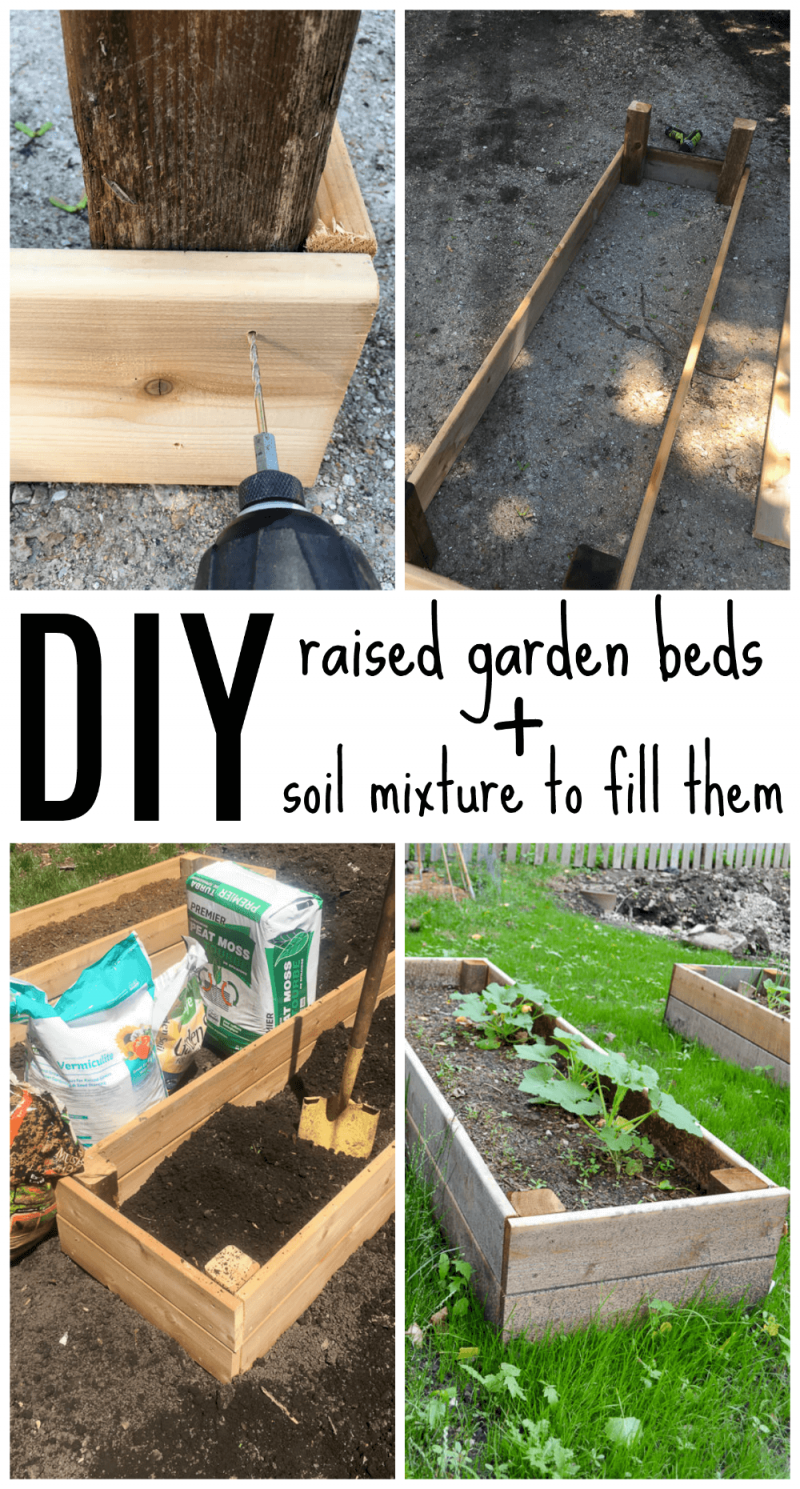 Diy Raised Garden Bed And An Easy Soil Mixture Blend To Fill It With Vegetable Garden Raised Beds Diy Raised Garden Raised Garden