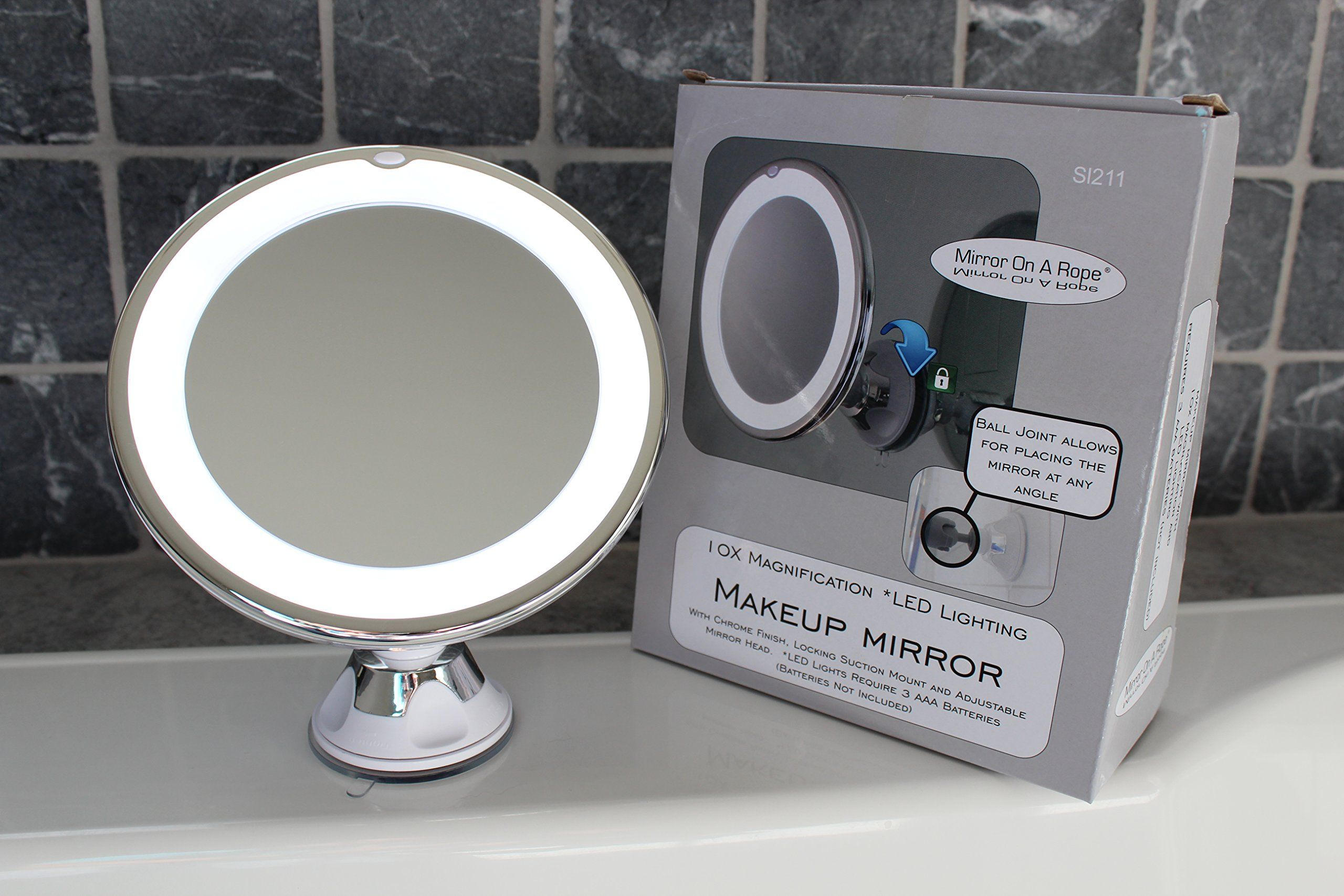 10x Magnifying Lighted Makeup Mirror With Chrome Finish Locking Suction Mount And Ball Joint Swivel For Changing Makeup Mirror With Lights Mirror Makeup Mirror