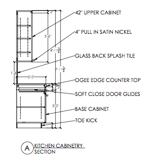 Technical Drawing Autocad Kitchen Cabinetry Section Kitchen