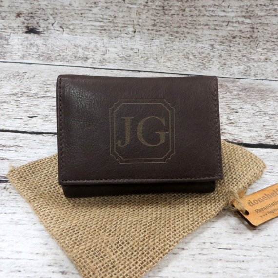 Tri Fold Personalized Mans Wallet - Gifts for Men - Groomsmen Gift - Husband- Grandfather- Leather - Monogrammed - Christmas (777) #leatherwallets