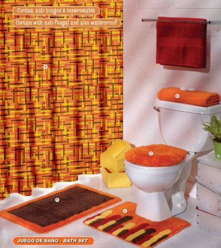 Orange Brown Yellow Curtain Mat Rug