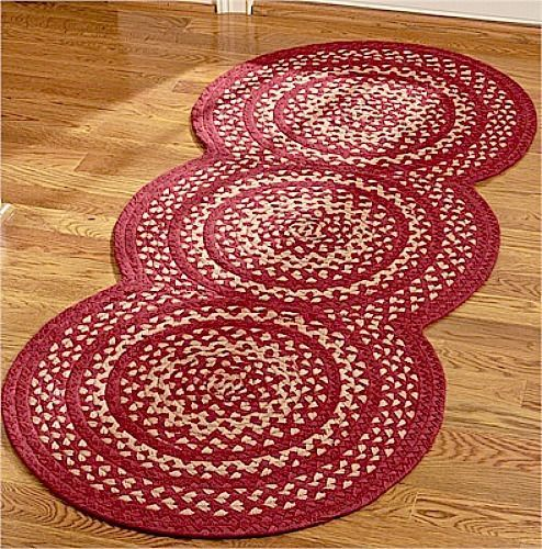 New Primitive Country Triple Circle Braided Rug Barn Red Jute Area Floor Mat