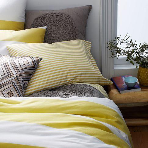 Stripe Duvet Cover Shams White Citron Toddler Room Decor Home Decor Striped Duvet Covers