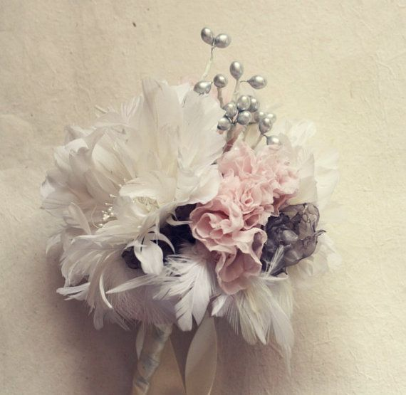 Feather Flower Bouquet with Fabric Flower by jewelboxballerina ...