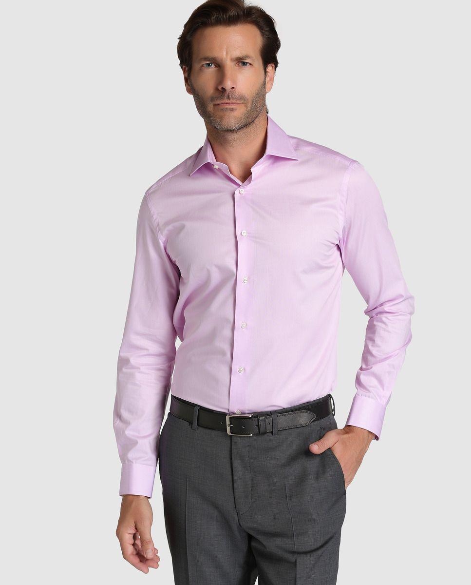 Camisa de hombre Mirto classic lisa rosa  f52dea814ab