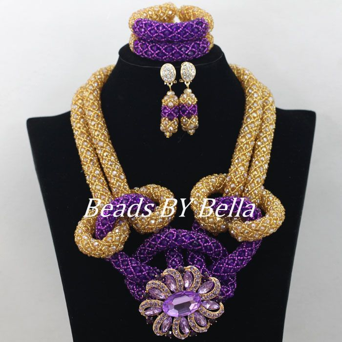 Latest Design Purple Gold Crystal Beads African Jewelry Set Hot ...