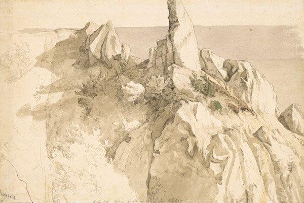 Kreidefelsen auf der Insel Møn Objektbezeichnung:Zeichnung Sachgruppe:Zeichnung / Grafik Hersteller:Gurlitt, Louis Maße:H: 33,3 cm, B: 49,5 cm Material:Papier Technik:Bleistift, aquarelliert Stil:Romantik
