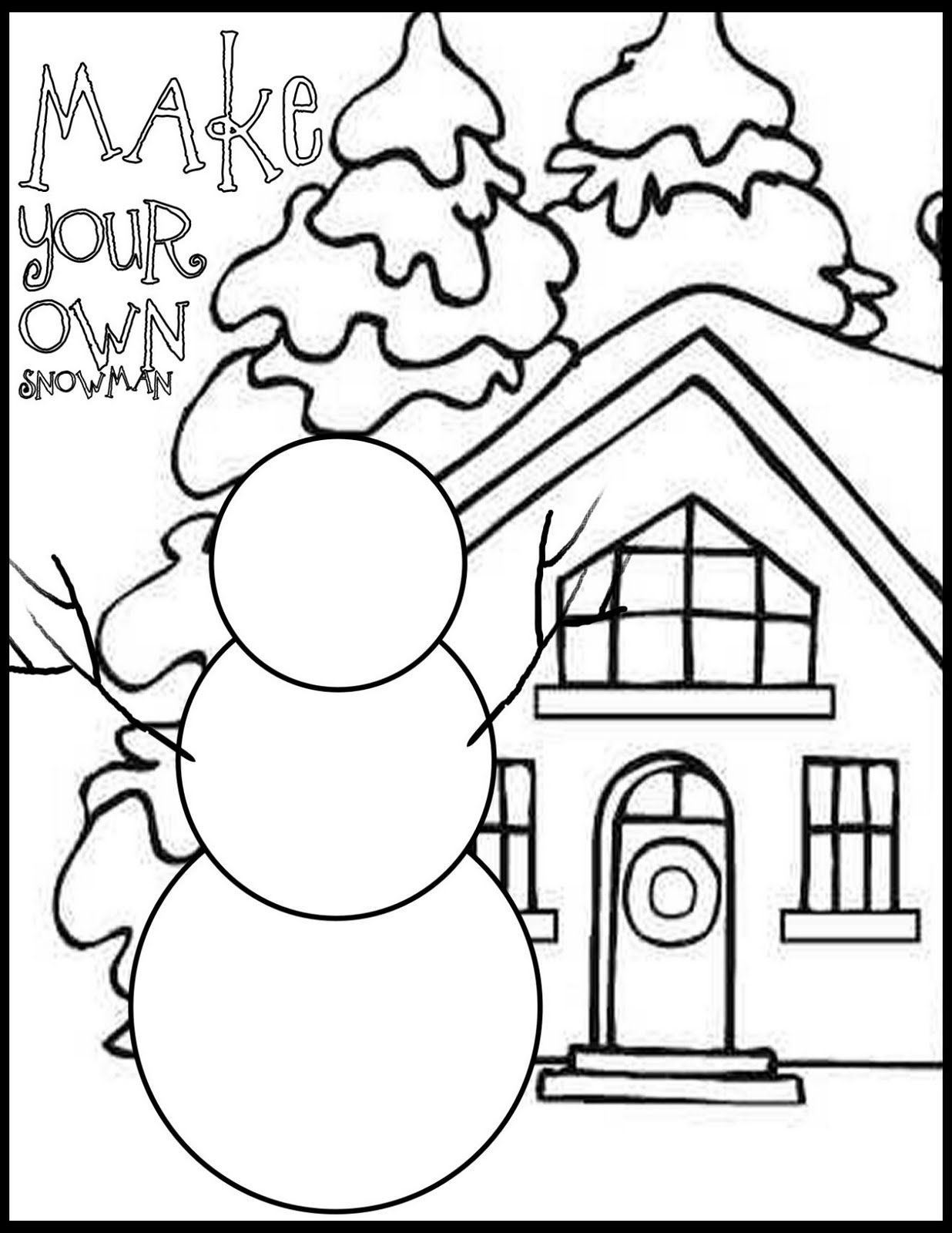 Everyday Mom Ideas Draw Your Own Snowman Coloring Page Snowman