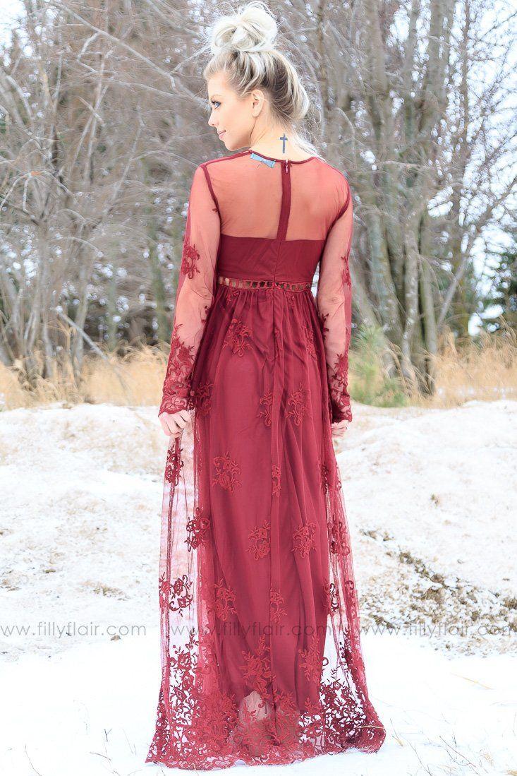 dedea449bec9 Gorgeous lace maxi dress! Eternal Love Lace Cut Out Maxi Dress in Burgundy # maxidress #fashion #burgundy #ootd #pretty #ad